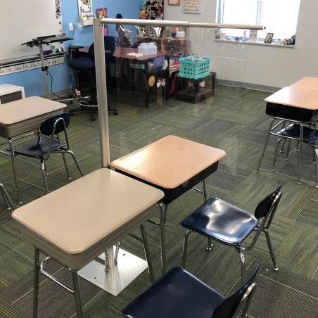 BarriClear™ 1-Way Vinyl School Desk Shield / Sneeze Guard
