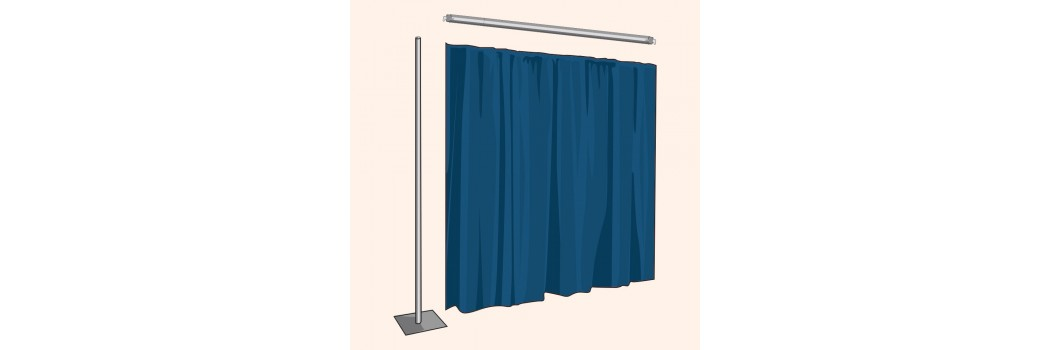 3 Ft Tall Pipe and Drape Backdrop Extensions